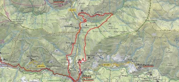 Plànol Ribes de Freser ruta pels veïnats Alt Freser