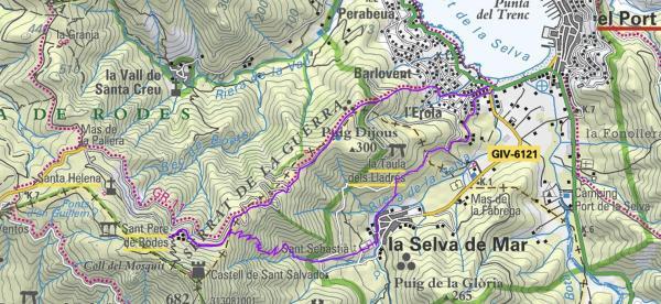 Plànol Port de la Selva- St Pere Rodes-Selva de Mar