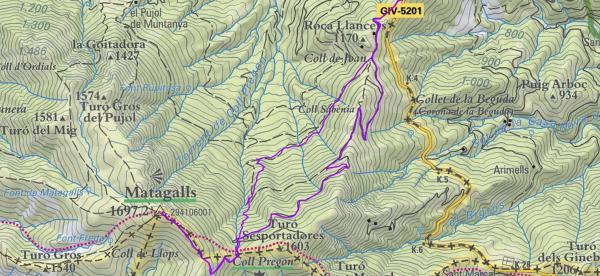Plànol Coll Bordoriol al Matagall i ruta fonts