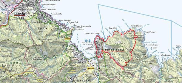 Plànol Port de la Selva a cala Fornells